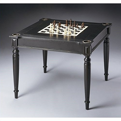 Butler Flip-Top Game Table with Accessories in Black Lico...