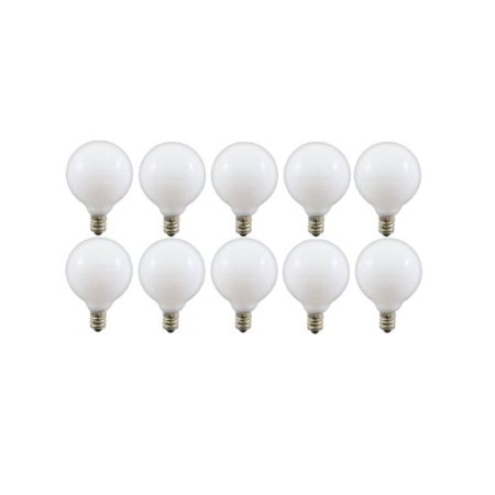 60-watt G16.5 Decorative Globe E12 Candelabra Base Light Bulbs, White, (G16.5 White Decorative Globe)