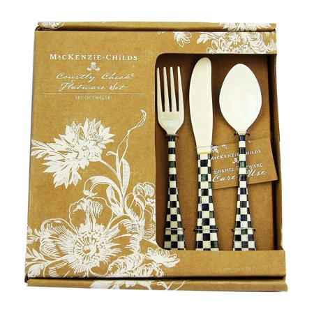 MACKENZIE CHILDS 12 PIECE SET COURTLY CHECK ENAMELED