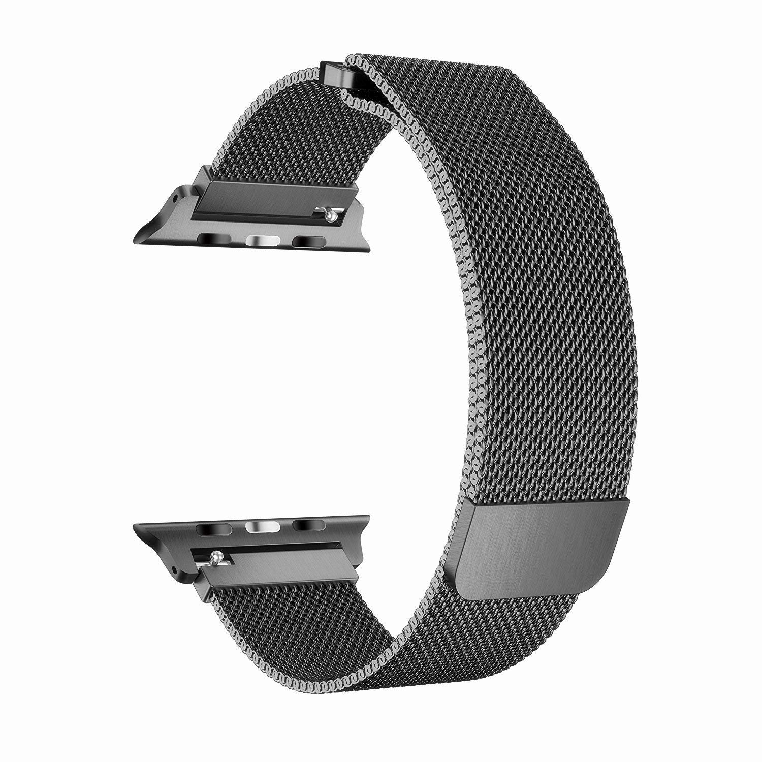 Apple Watch Band 42MM, Stainless Steel Mesh Milanese Loop with Adjustable Magnetic Closure with Clear Hard Case for Apple Watch Series 3 2 1 (42mm Black) - image 3 de 3