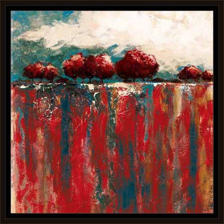 Abstract Drip Texture Tree Horizon Line Landscape Painting Red & Blue, Framed Canvas Art by Pied Piper Creative