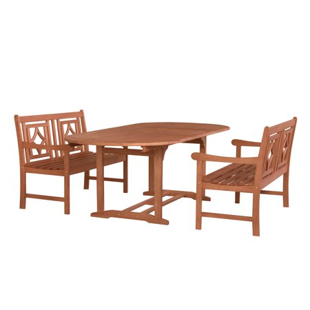 Malibu Outdoor 3 Piece Wood Patio Extendable Table Dining