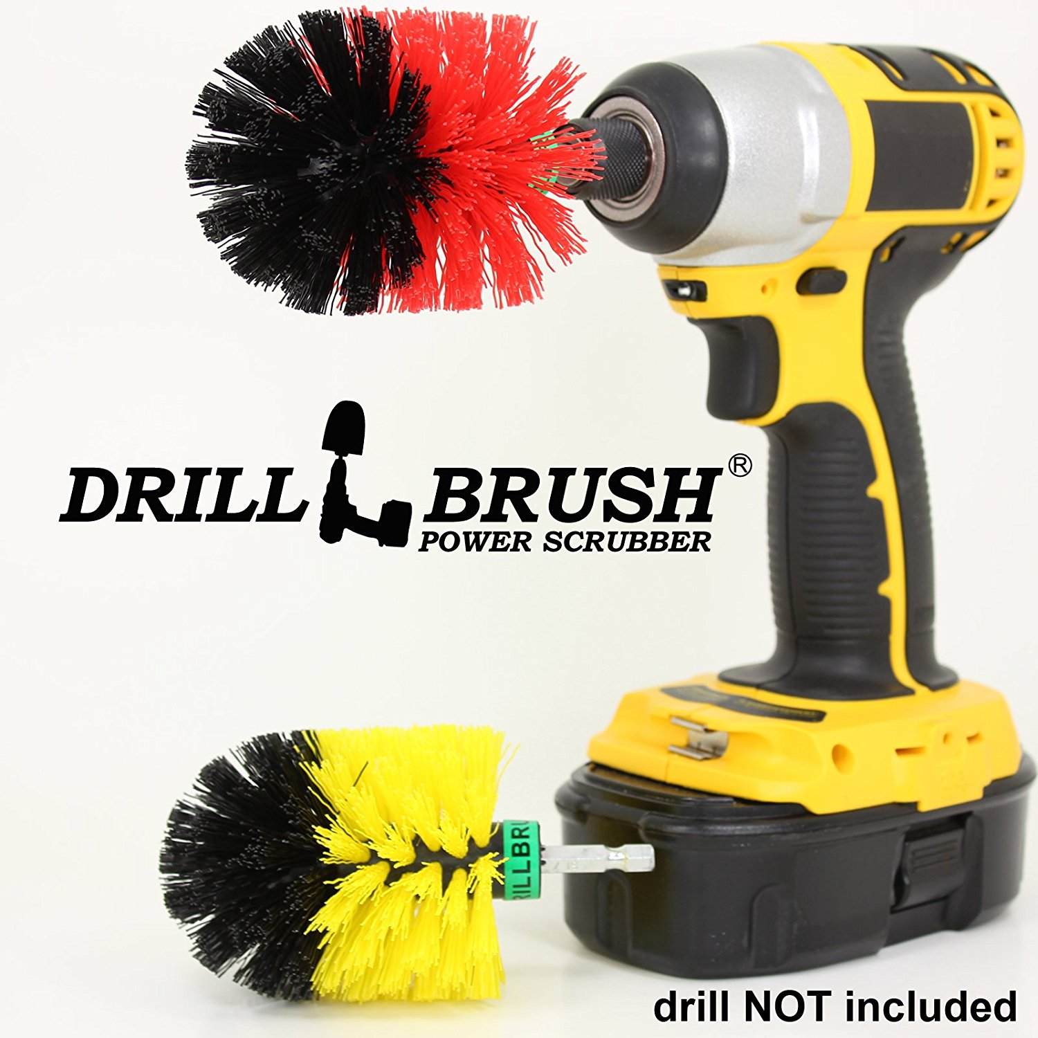 Mini Size Tub and Tile and Grout Power Scrubber Kit Medium and Stiff Brushes by Drillbrush
