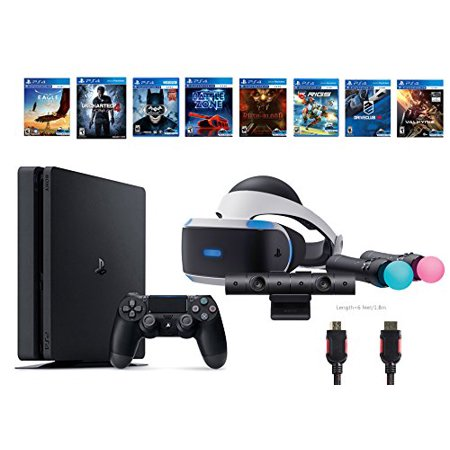 PlayStation VR Start Bundle 10 Items:VR Start Bundle,PS4 Slim- Uncharted 4,7 VR Game Disc Until Dawn:Rush of Blood, EVE:Valkyrie,Battlezone,Batman:Arkham VR, DriveClub,Eagle