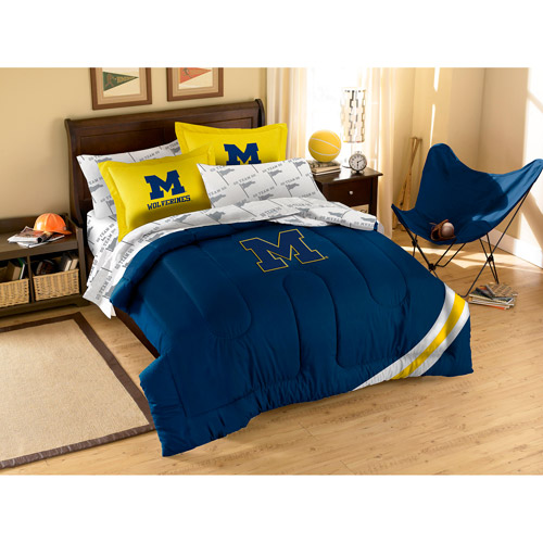 NCAA Applique Bedding Comforter Set with Sheets, University of Michigan