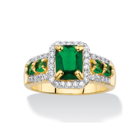 Emerald-Cut Simulated Green Emerald and Cubic Zirconia Halo Cocktail Ring 2.62 TCW 18k Yellow - Green Stone Cocktail Ring