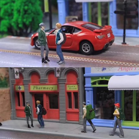 5PCS Race Medal 1:64 Figure Backpacker People Group Scenario Model Set For TOMY siku (Model People Figures)