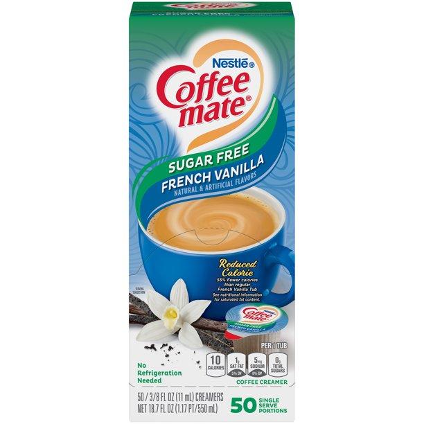 NESTLE Coffee mate Coffee Creamer Sugar-Free French Vanilla Flavor, Liquid Creamer Singles, 0 ...