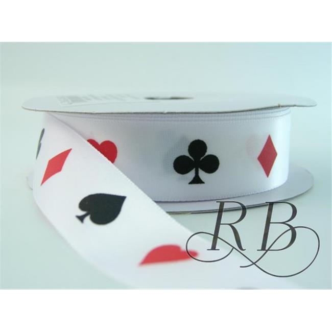Ribbon Bazaar 3915 Single Faced Satin Vertical Playing Cards Ribbon, 0.88 in. - 25 Yards
