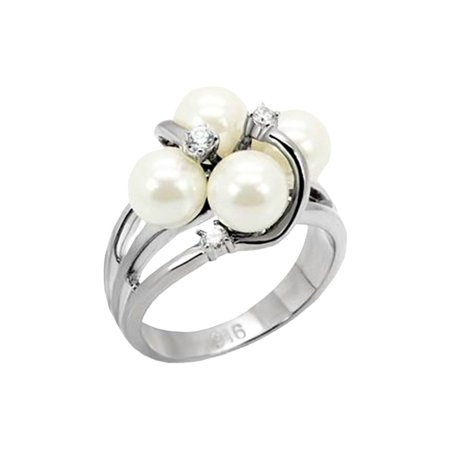 7mm White Simulated Pearl ring designer fashion Stainless Steel