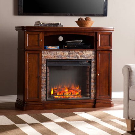 Southern Enterprises Monfort Electric Media Fireplace Console,for TV;s up to 46;,  Espresso w/Durango Faux Stone