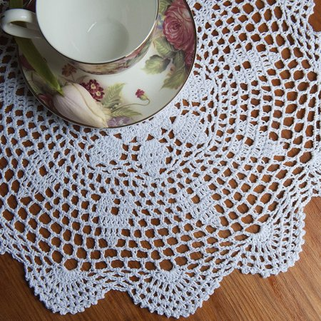 """Meigar 14.5""""  Sunflower Lace Floral Round Cream Hand Crochet Cup Mat Doilies Coasters Wedding Table Fabric Cloth Doily Placemats  - image 2 of 7"""