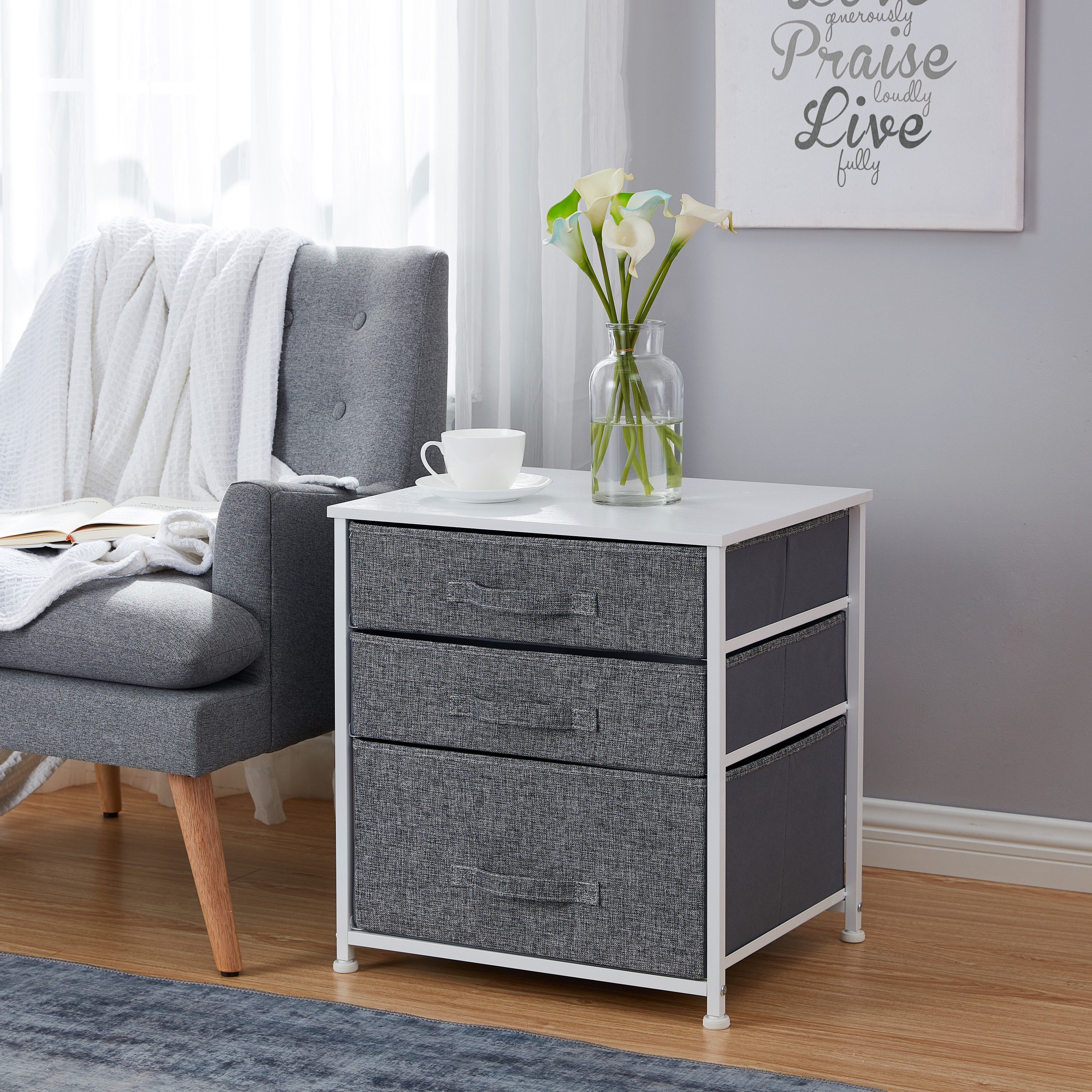3 Drawer Nightstand Storage Dresser Tower White Wood Top Sturdy Metal Frame Linen Fabric Storage Bins With Pull Tabs Organizer Unit For Hallway Entryway Closets And Bedroom Gray Walmart Com Walmart Com