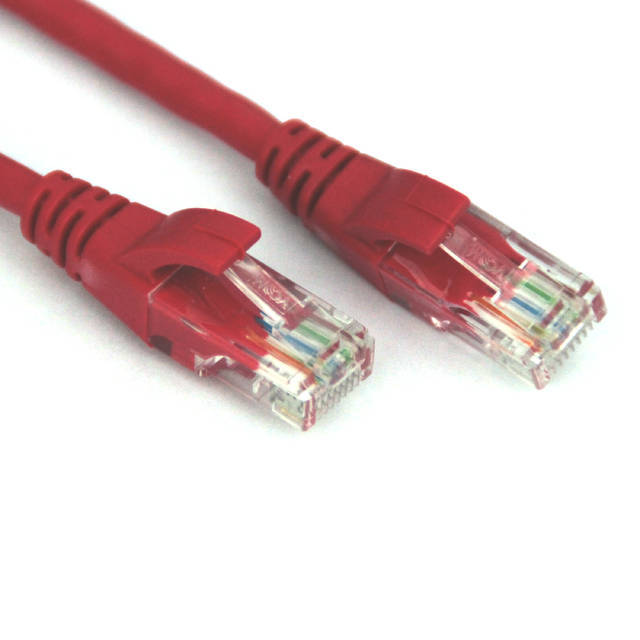 VCOM Cat5e Crossover 7' Cable, Red