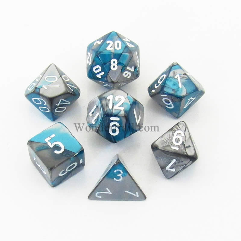 Steel and Teal Gemini Dice with White Numbers 7 Dice Set 16mm (5/8in) Chessex