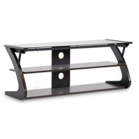 Whole Interiors Sculpten Dark Brown Modern Tv Stand With Gl Shelves For Tvs Up To 45