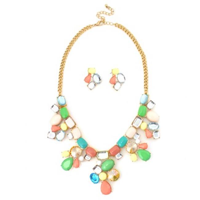 c jewelry gold multicolor necklace and earring set