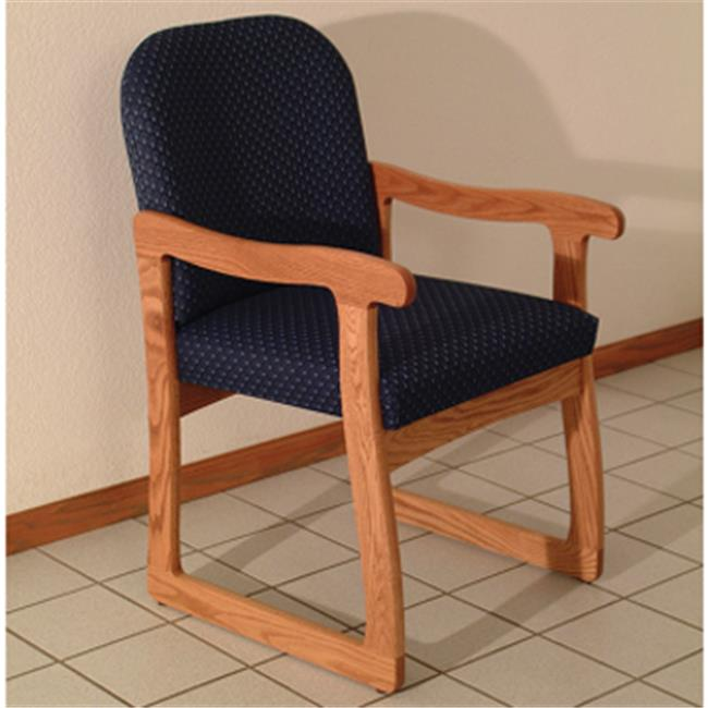 Wooden Mallet DW7-1MHWB Prairie Guest Chair in Mahogany - Watercolor Blue