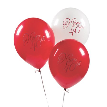 Fun Anniversary Ideas (Fun Express - 40th Anniversary Latex Balloons for Party - Party Decor - Balloons - Latex Balloons - Party - 12)