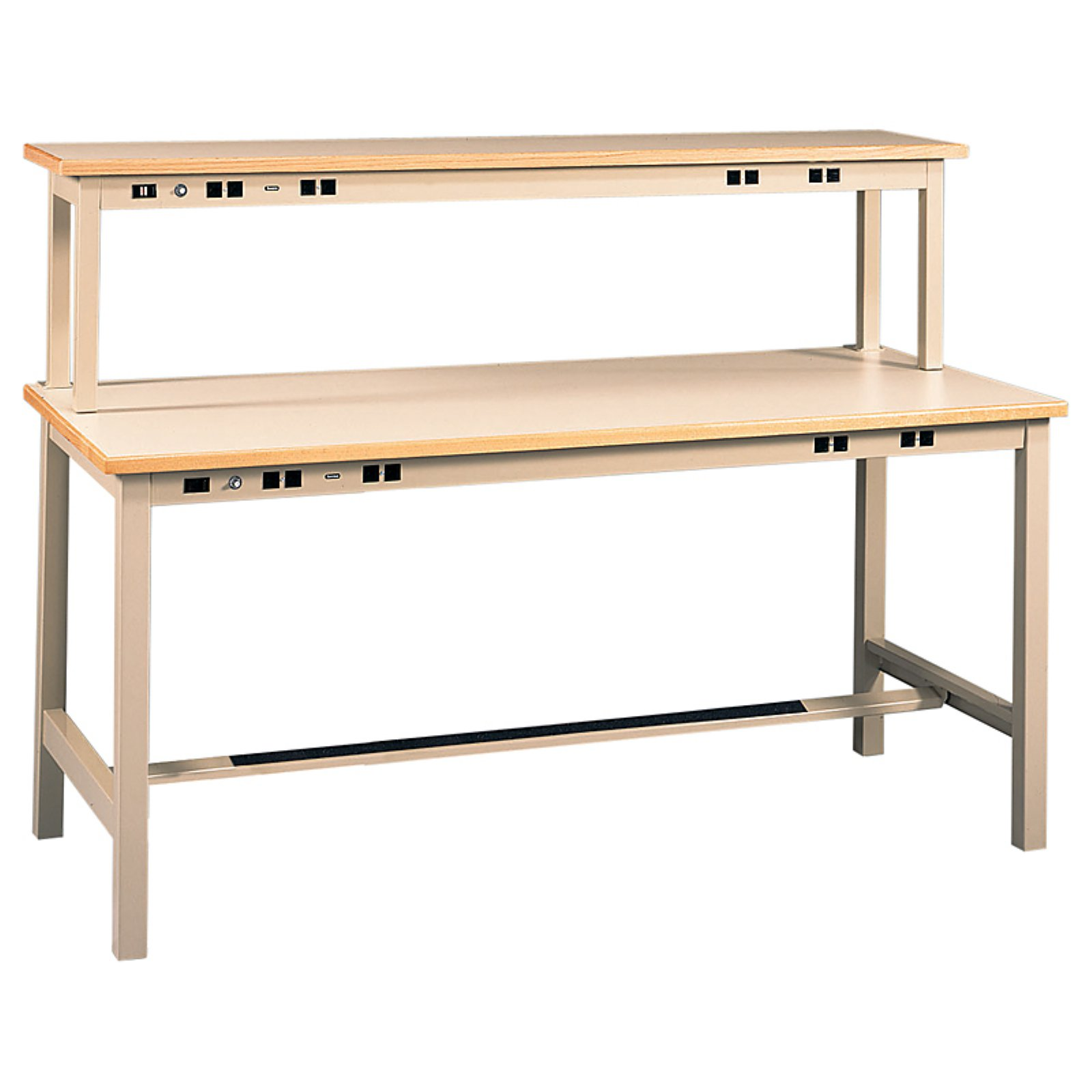 Tennsco Technical Workbench with Power Rail and Instrument Shelf-60 inches