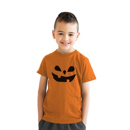 - crazy dog tshirts - youth teardrop eyes pumpkin face funny fall halloween spooky t shirt