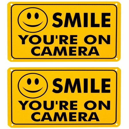 Color Cctv Security Spy Camera (2x SMILE YOU'RE ON CAMERA Yellow Business Security Sign CCTV Video Surveillance Home Store Shop)