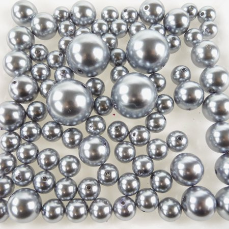 Plastic Pearl Balls Vase Filler, 14mm, 20mm, 30mm, 84-Piece, Silver - Pearl Vase Fillers