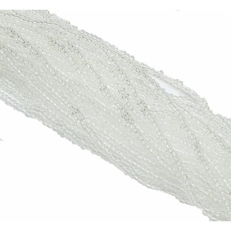 Clear Czech 11/0 Glass Seed, Loose Beads, 1 6 String Hank Strands Preciosa Jablonex ()