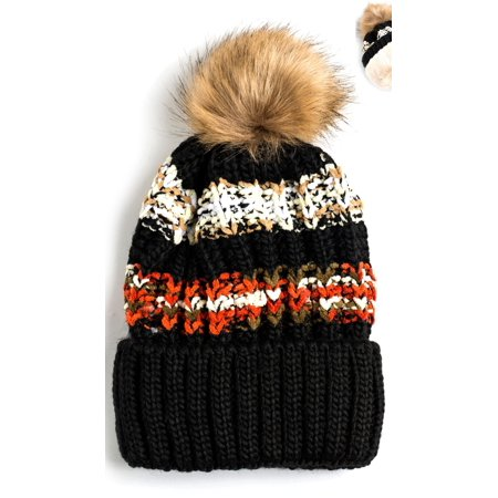 Newbee Fashion - Women Winter soft Knitted Beanie Hat Faux Fur Pom Pom Beanie Hat with Warm Fleece Lined Extra Thick Skull Slouchy Cable Knit Hat Ski Cap Multi-Color Bohemian Stripe Stylish & Warm