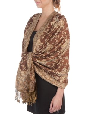 Sakkas Double Layer Jacquard Paisley Pashmina Shawl / Wrap / Stole - Copper Brown / Gold - One Size