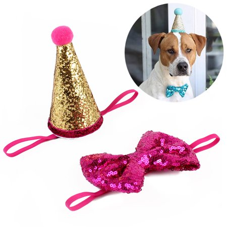 Dog Birthday Hat Legendog Sequins Cone Shaped Cat Pet Party Accessories Cap With Bowknot Bowtie