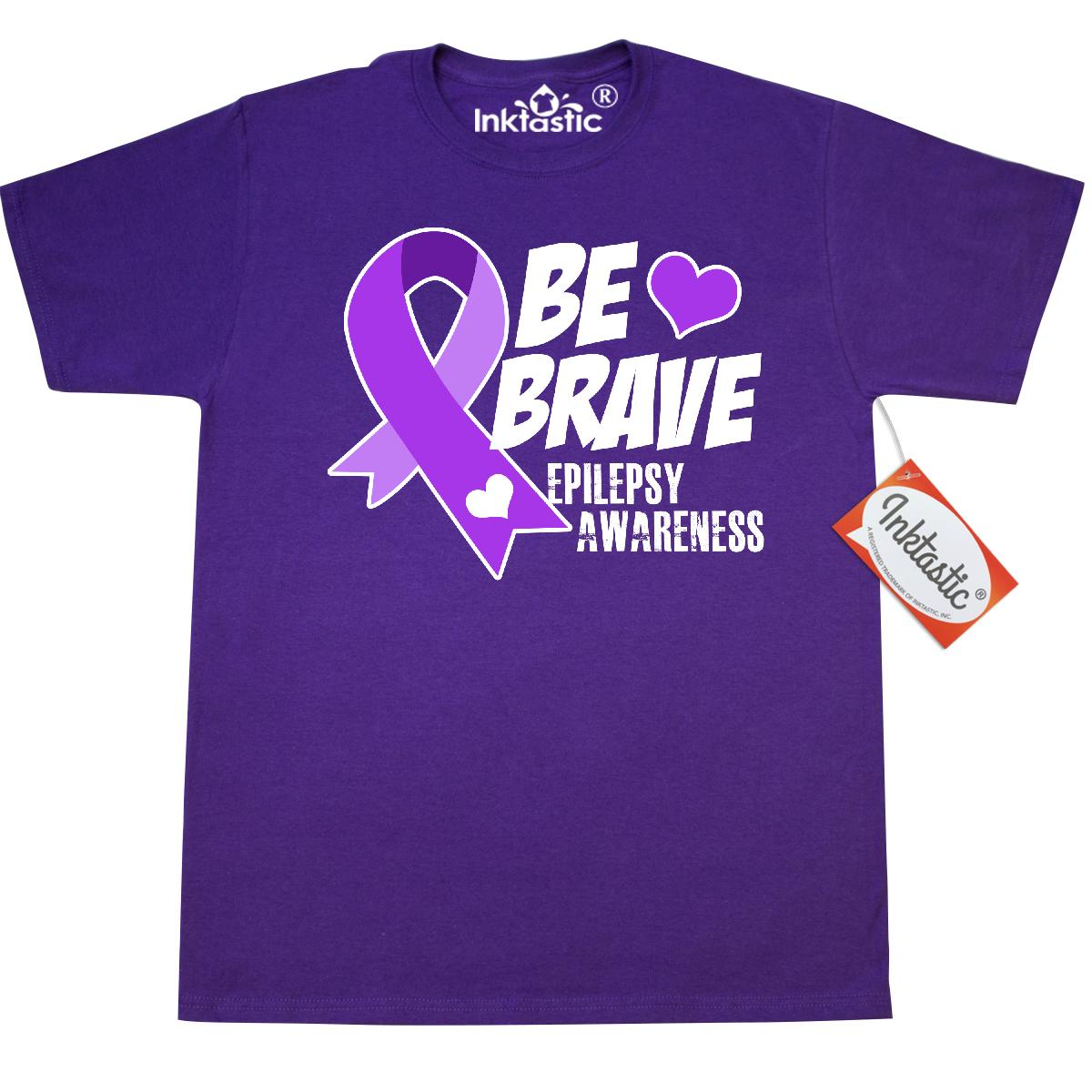 Inktastic Be Brave Support And Raise Awareness Of Epilepsy T-Shirt Purple Up Ribbon Mens Adult Clothing Apparel Tees T-shirts