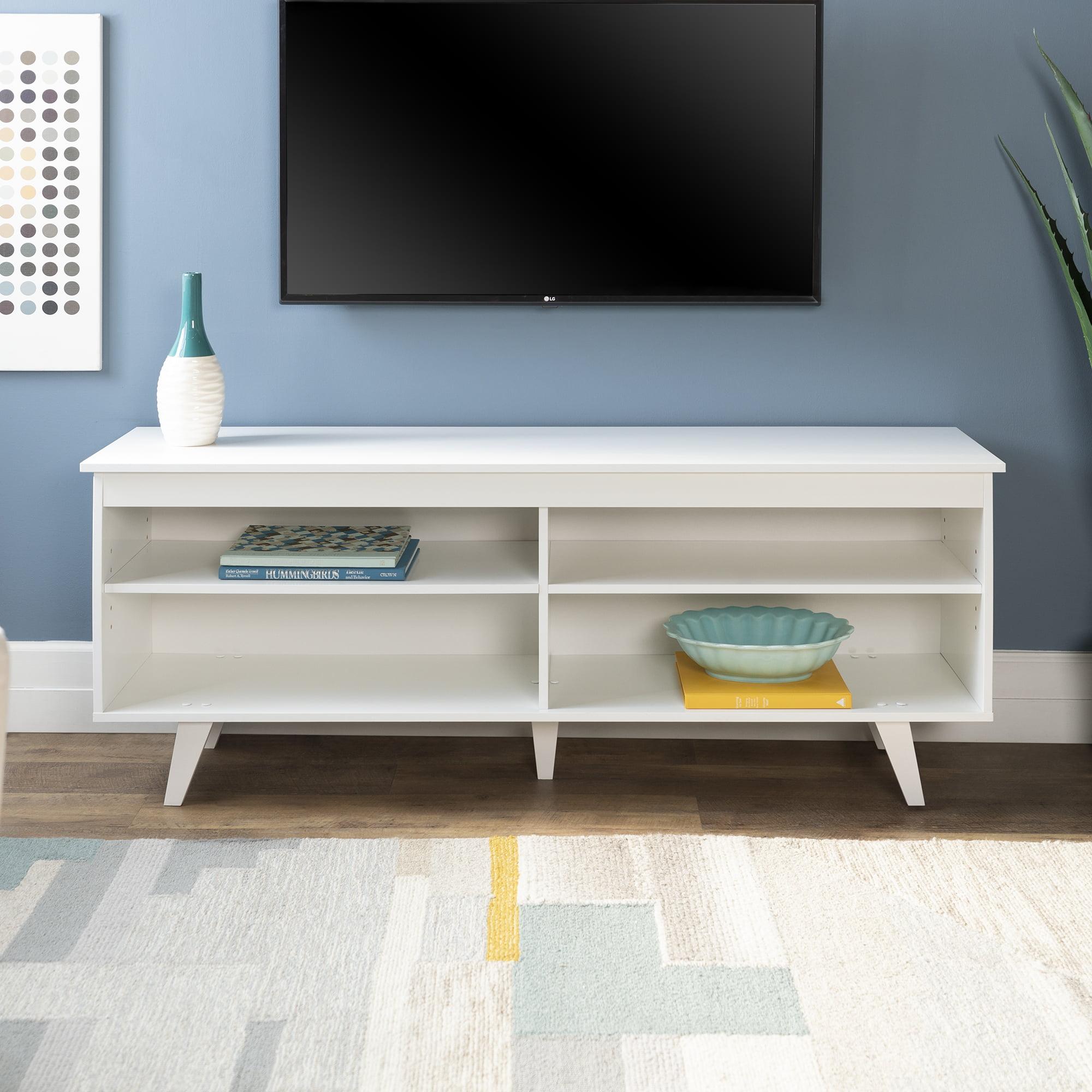 "58"" Mid-Century Modern Wood Storage Media Console TV Stand - White"