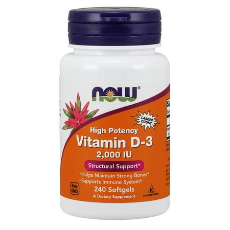 NOW Supplements, Vitamin D-3 2000 IU, 240 Softgels