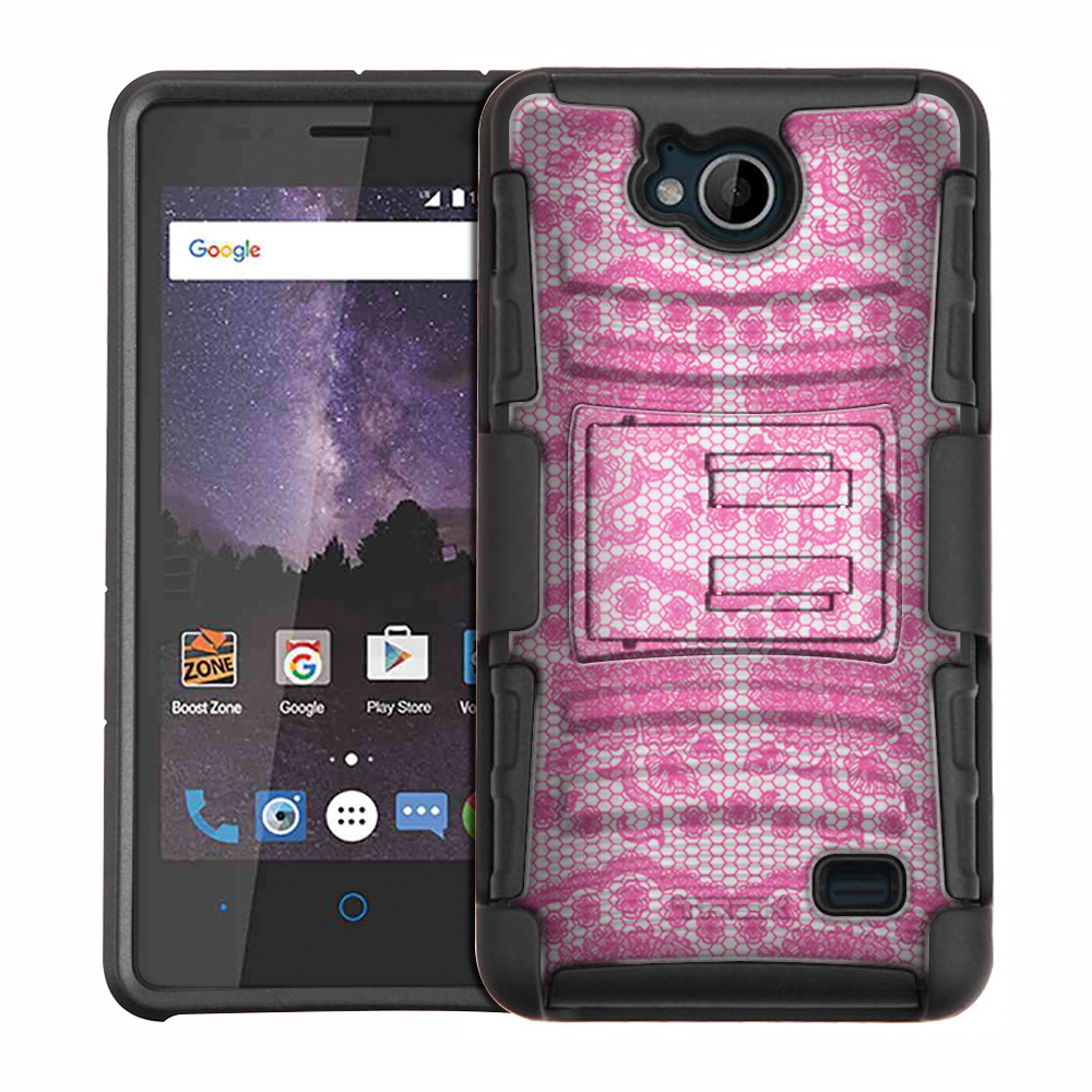 ZTE Tempo Armor Hybrid Case - Darling Rose Lace in Orchid Pink