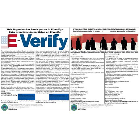 Compliance Assistance: E-Verify and Right to Work Laminated Combo Poster- Up to Date, Thick Lamination, Compact, OSHA Compliant (Osha Compliance Posters)