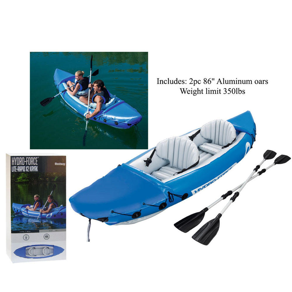 Bestway X2 Inflatable Kayak 2 Person Floating Canoe Raft w// Aluminium Oars P-Kit