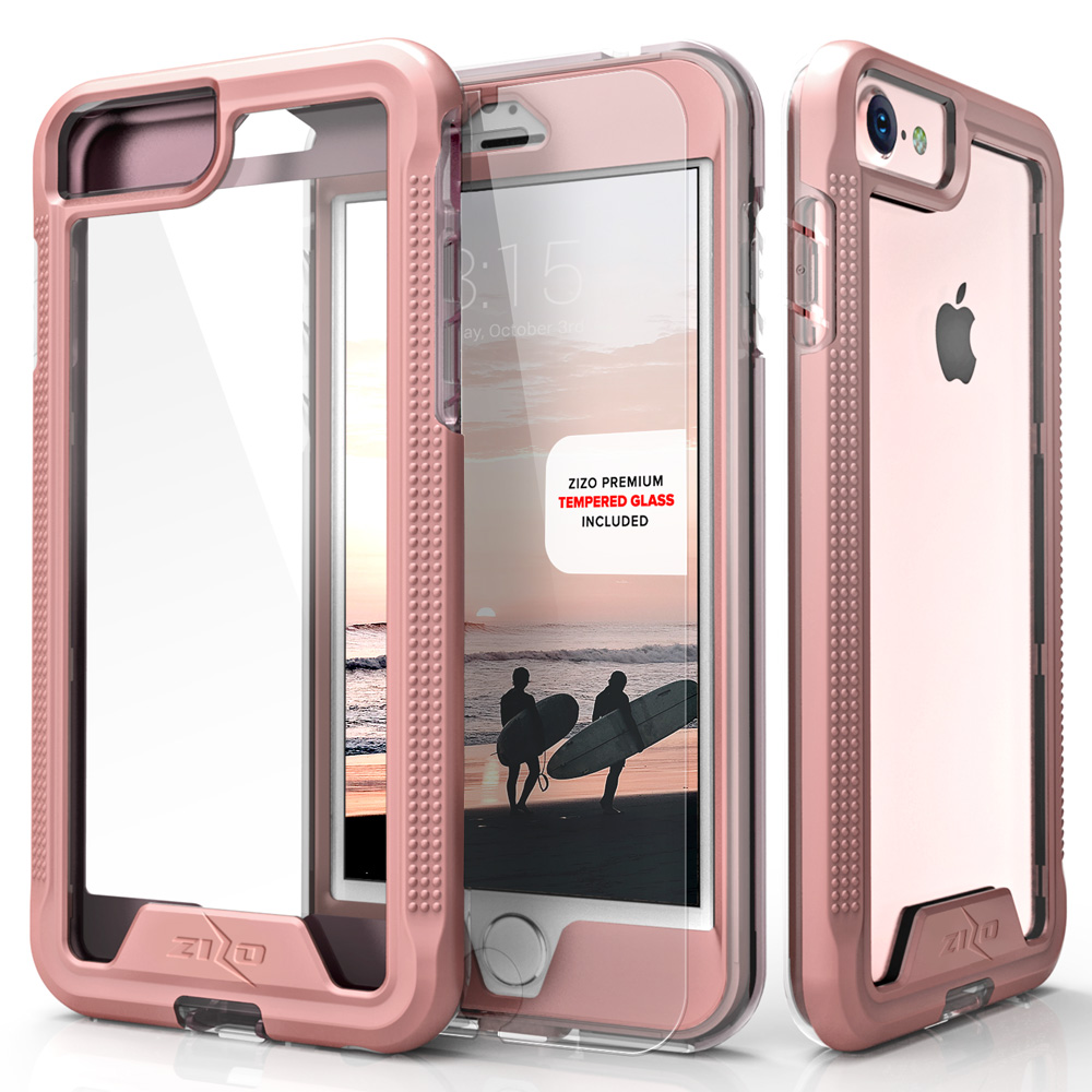 Zizo Ion series case with Screen Protector for iPhone 6 Plus, iPhone 6s Plus, and iPhone 7 Plus, Rose Gold/Clear