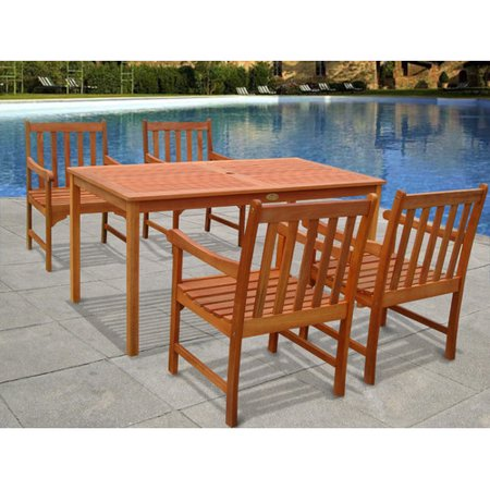 Vifah Patio Furniture.Vifah Outdoor Wood English Garden 5 Piece Dining Set