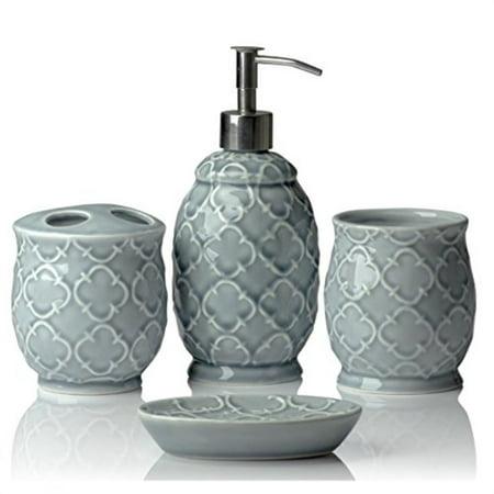 4 Piece Ceramic Bathroom Accessory Set ()