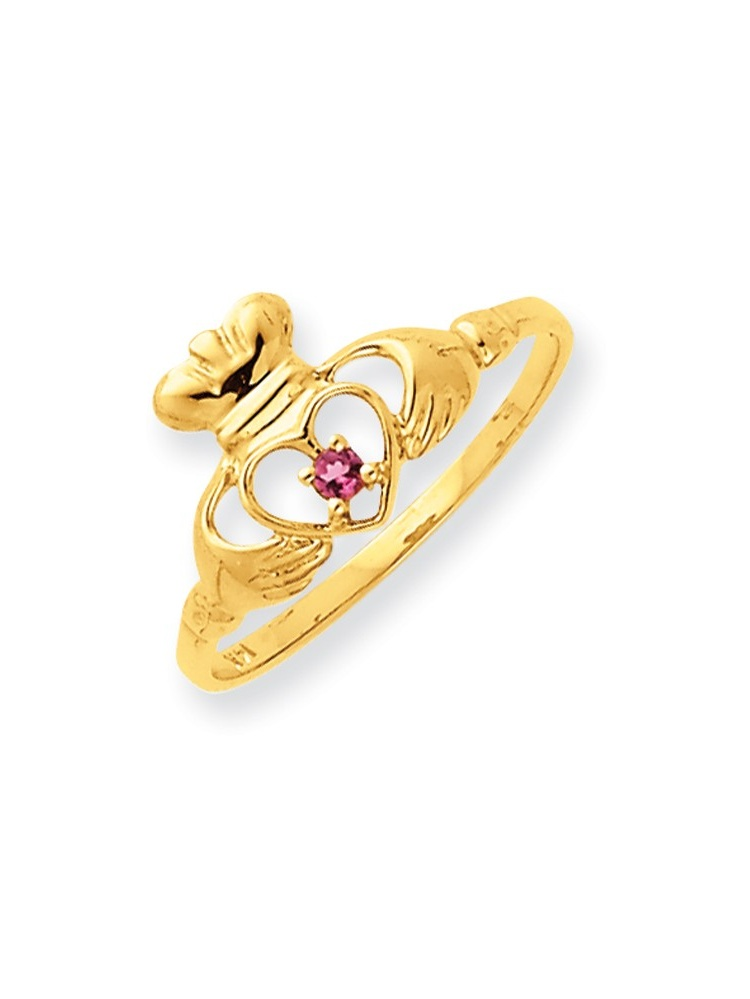 ICE CARATS ICE CARATS 14kt Yellow Gold Pink Tourmaline Birthstone Band Ring Size 6.50 Stone October Claddagh Style Fine... by IceCarats Designer Jewelry Gift USA