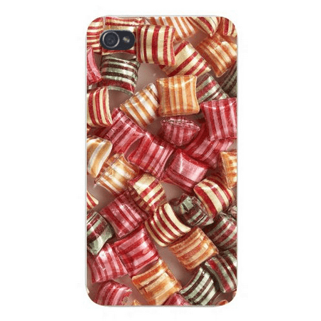 Apple Iphone Custom Case 4 4s White Plastic Snap on - Striped Candy Assortment Stacked