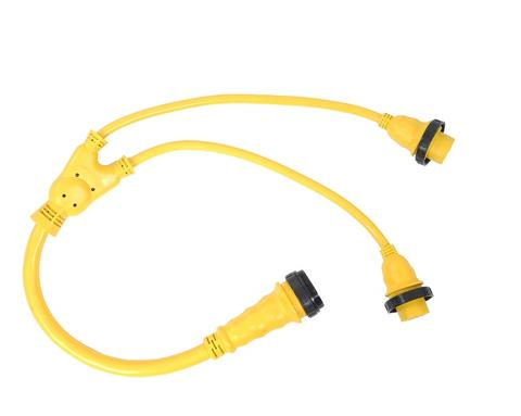 2 30A Male Connectors Y Split New RV Power Cord Adapter 50A Female to