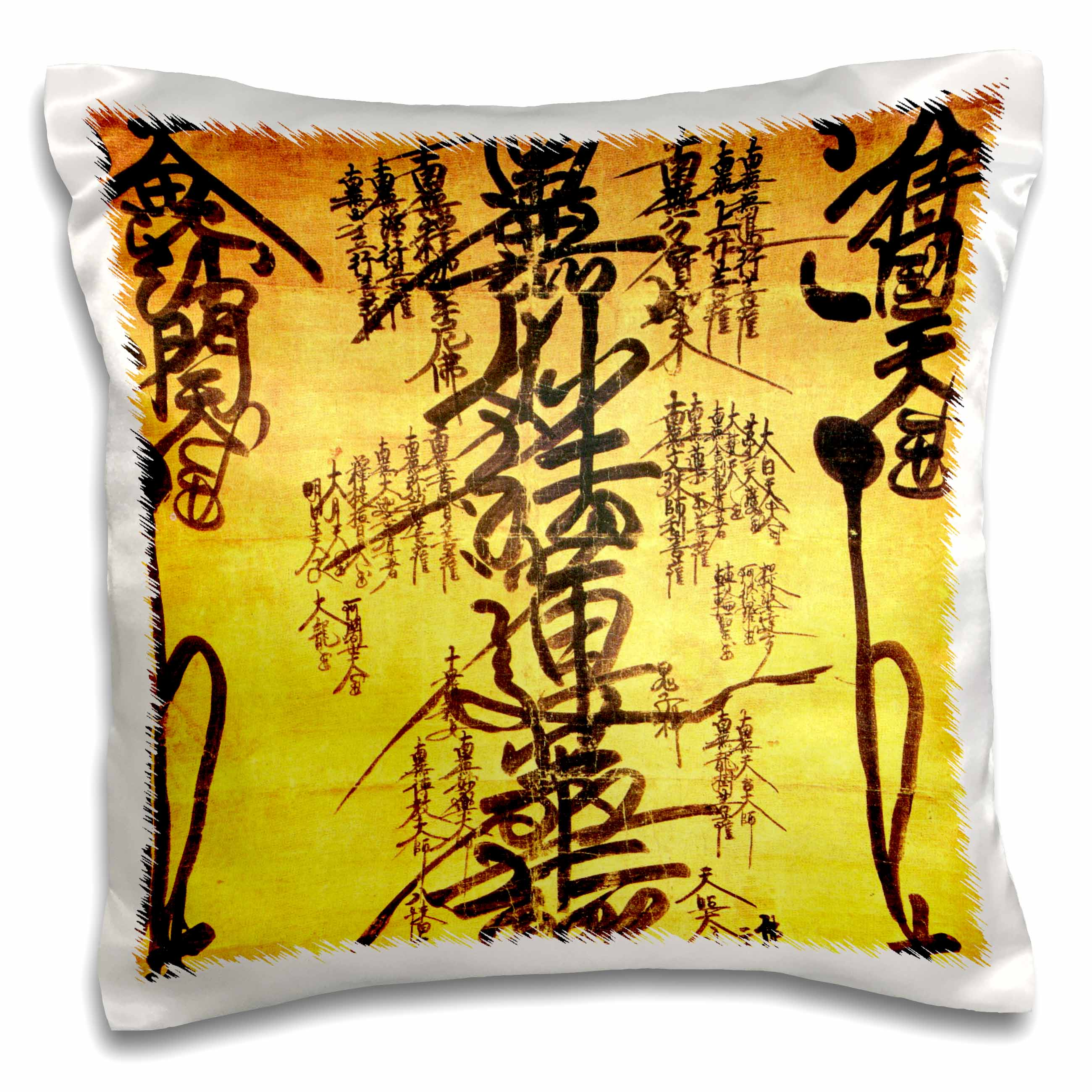 3dRose Oriental design art yellow background , Pillow Case, 16 by 16-inch