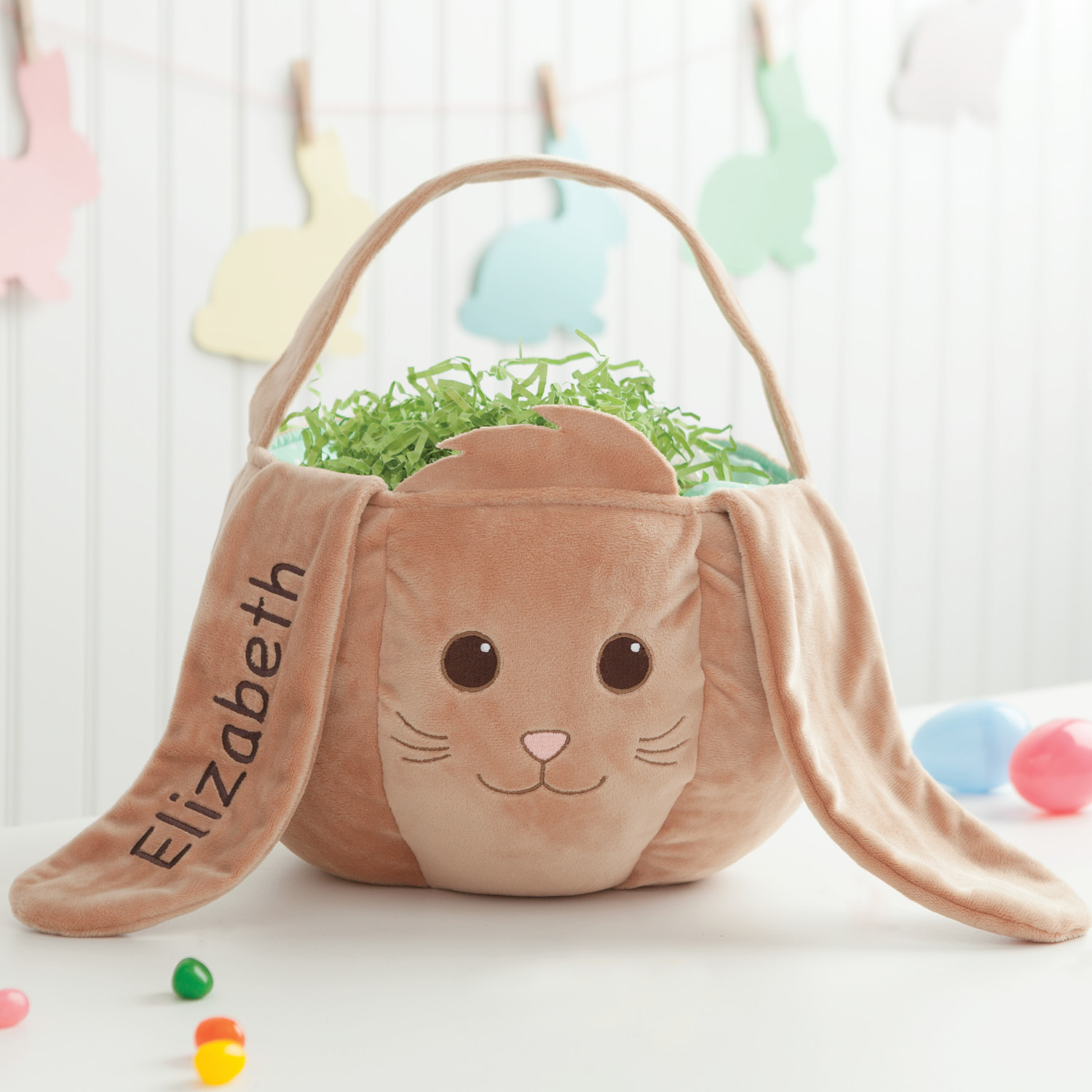 Personalized Wicker Easter Basket – Brown Bunny