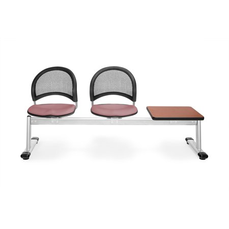 333T-2208-CHRY group seating furniture Moon Series 3-Unit Beam mesh back Triple curve seat CORAL PINK Chair & CHERRY (Moon 4 Beam Seating)