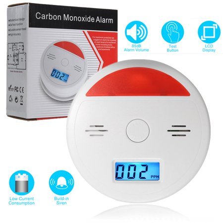 Battery Powerd LCD Carbon Monoxide Detector Sensor Gas Fire CO Alarm Tester Warn with Digital Display Loud 85db and Flash Alarm Indicator Home (Gas Detector Tube)