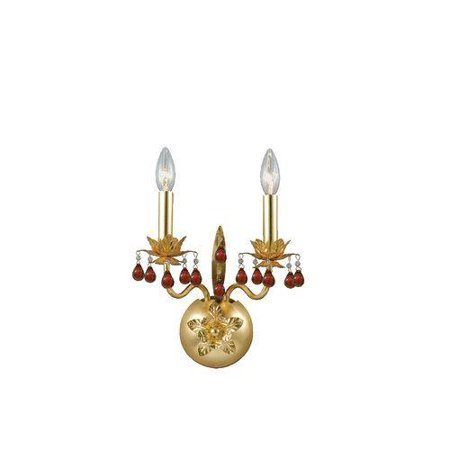 Eurofase Lighting Crystal Sconce - Eurofase 14567-018 Ambroise 2-Light Wall Sconce, Gold