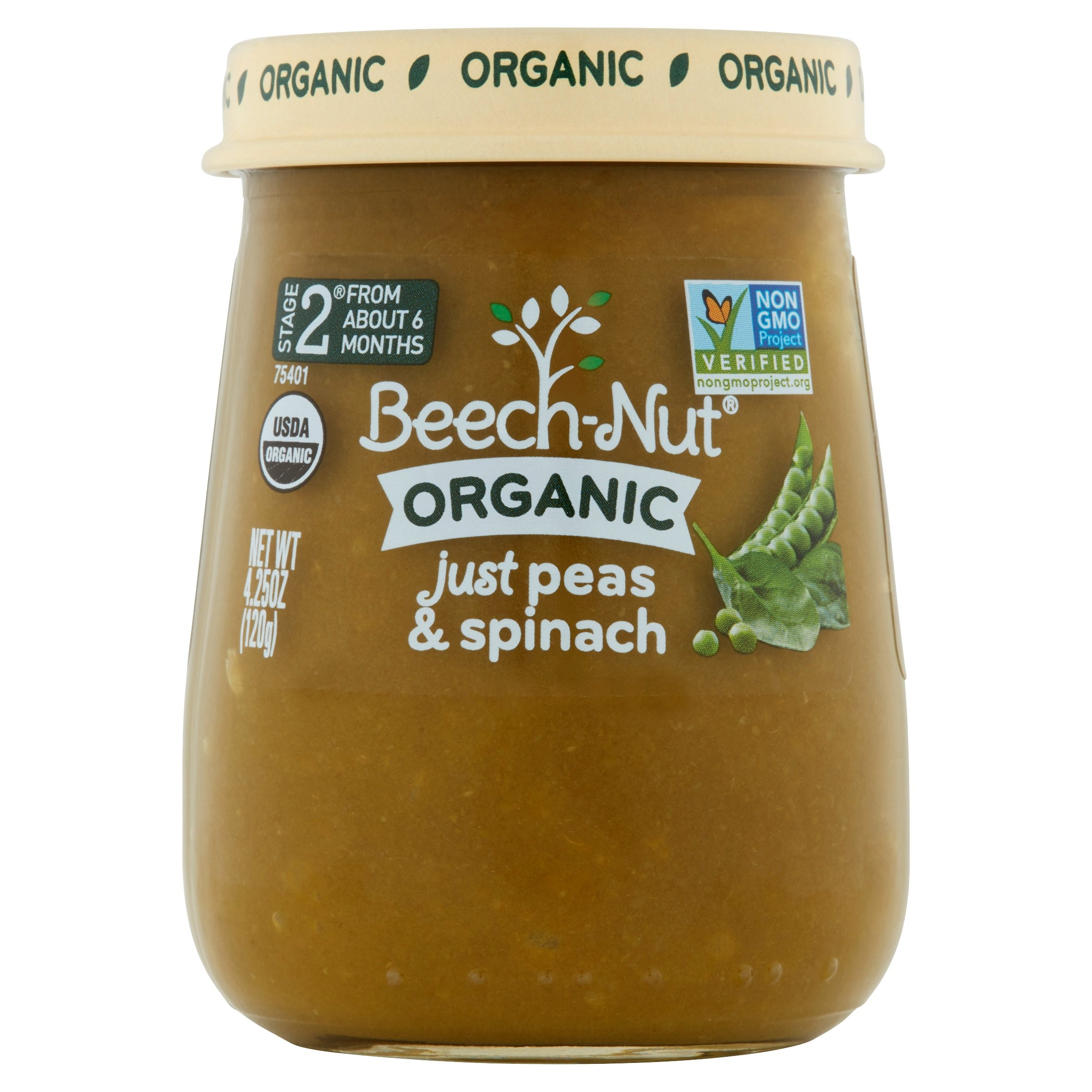 Beech-Nut Organic Stage 2 Just Peas & Spinach Baby Food, 4.25 oz, (Pack of 10)