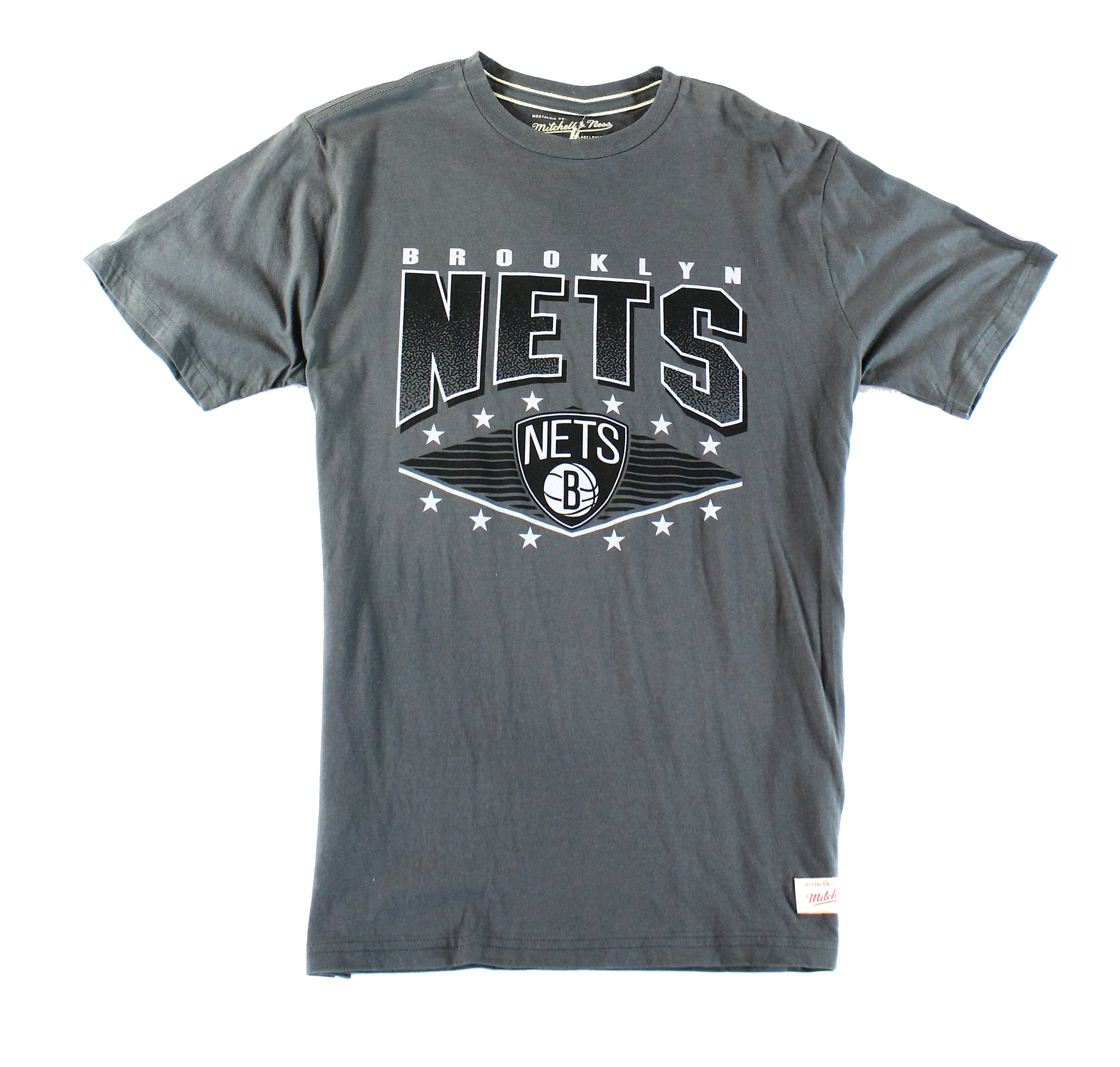 Mitchell & Ness NEW Gray Mens Small S Brooklyn Nets Graphic Tee T-Shirt